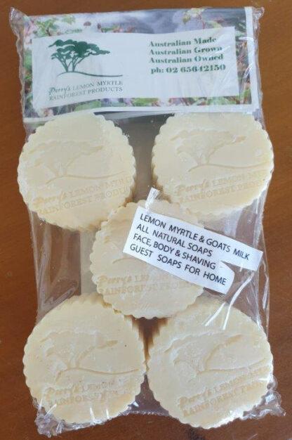 Lemon Myrtle goat's milk 5 pack guest soaps